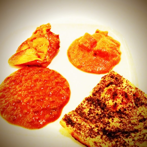 Japanese eggplant, shahi paneer, black lentil soup and mint bread