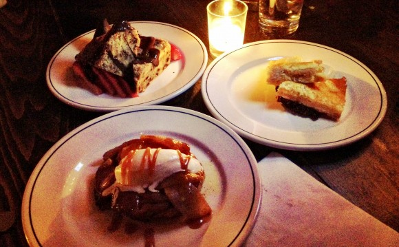 apple tarte tatin, chocolate-banana brioche bread pudding, meyer lemon bar