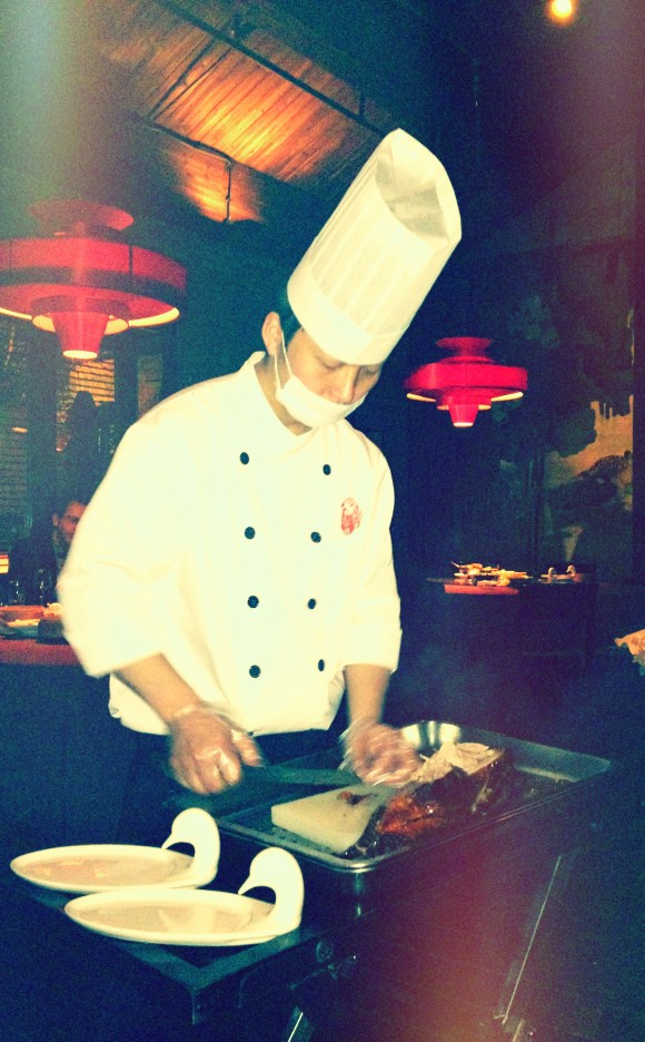 chef preparing the duck
