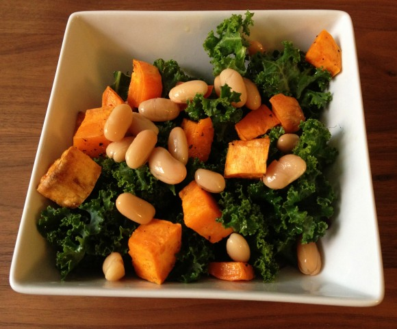 sweet potato, kale and bean salad