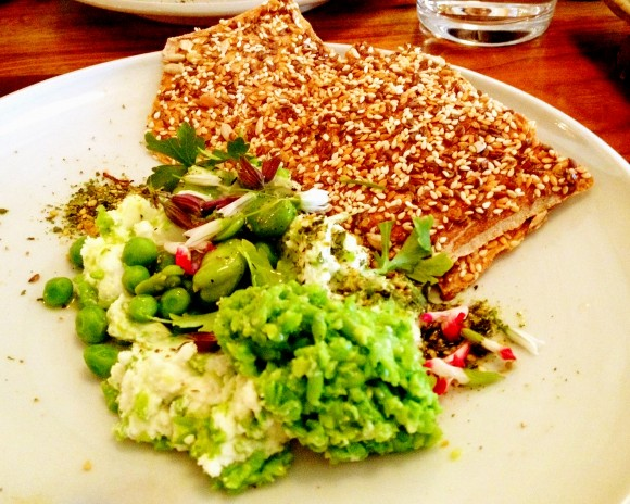 English pea and goat cheese dip with sesame crackers