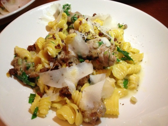 orecchiette with housemade sausage, ramps, parmigiano