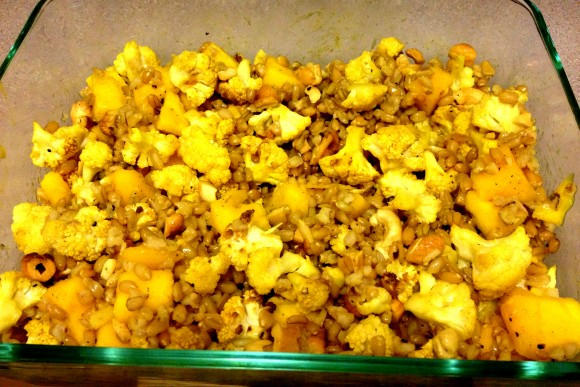 mix up the freekah, cauliflower and mangos