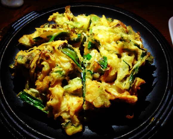 hanjan - scallion pancake with local squid