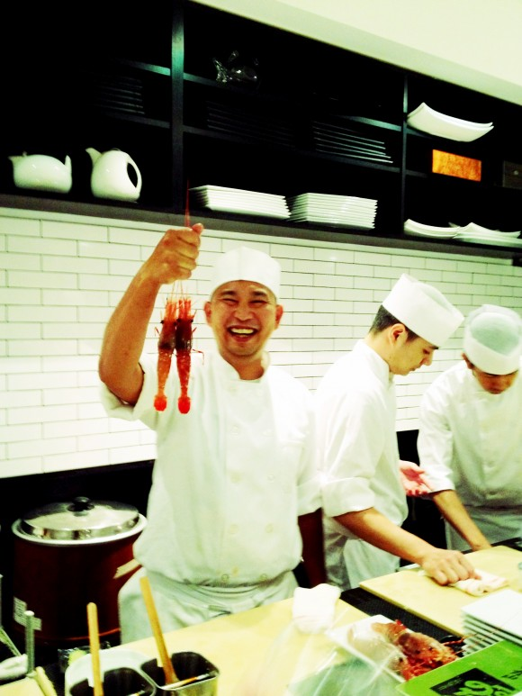 nakazawa hamming it up with shrimp