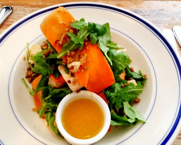 provencal chicken salad with carrots, bulger, pistachio, caraway and orange vinaigrette