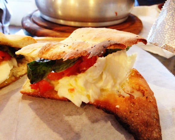 "the ""bubi"" panini with buffalo mozzarella, basil and tomatoes"