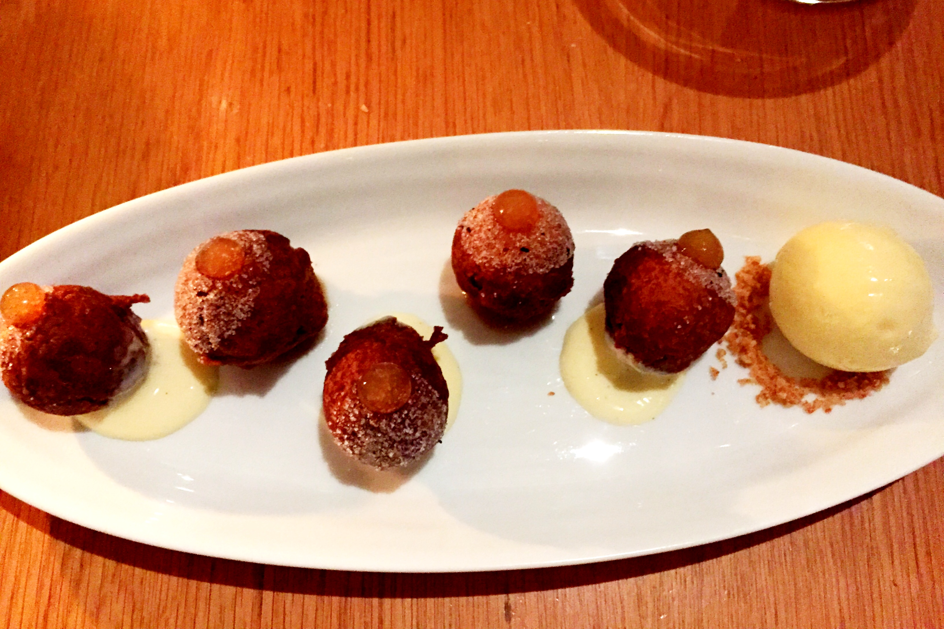 apple cider doughnuts with vanilla pudding, apple butter and burnt ...
