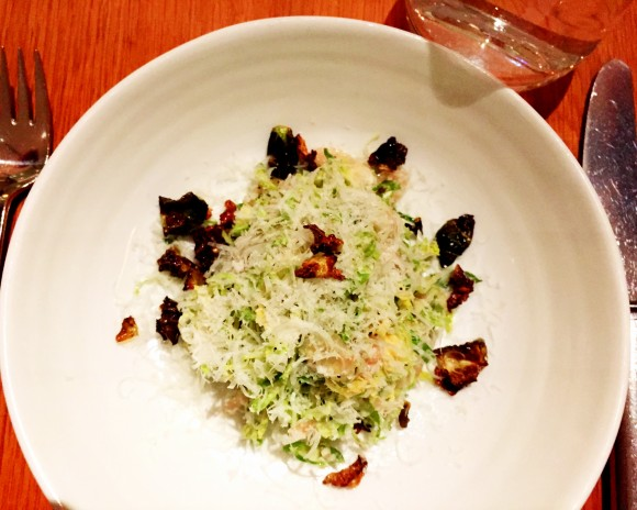 shaved brussels sprouts with pickled shallots, pecorino and black pepper