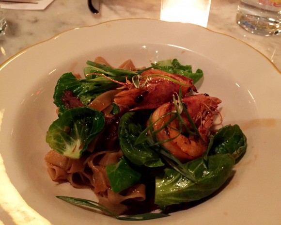 buckwheat noodles with prawns and short rib