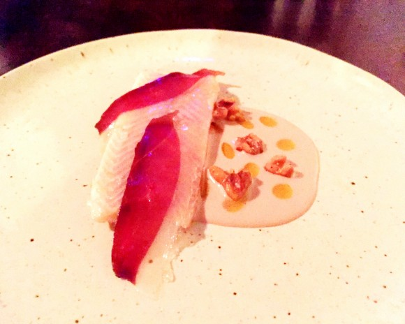 trout with duck, walnut and chile