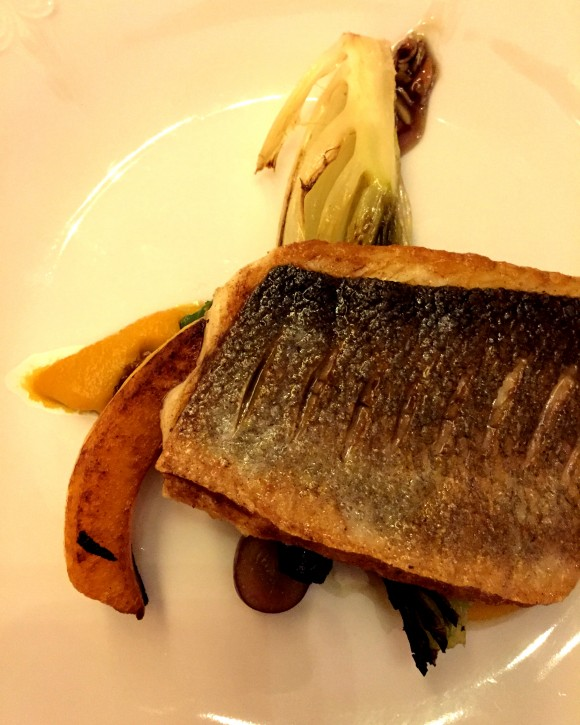 branzino with butternut squash, grilled lettuce and pumpkin seed vinagrette