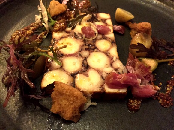 octopus pastrami with braised ham hock, pommery mustard and new potatoes