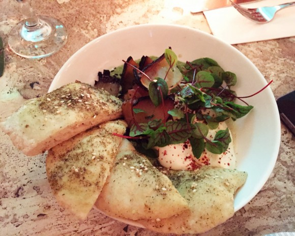 green mole with burrata, burnt onions and za'atar bread