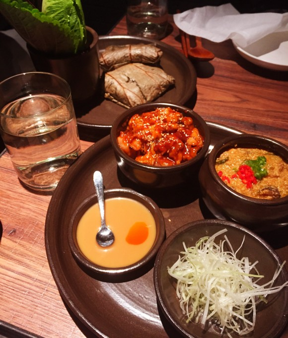 oiji - ssam platter with spicy pork and gang-deon-jang