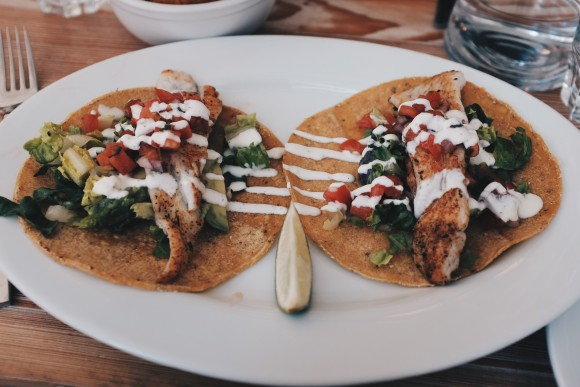 seared fluke tacos