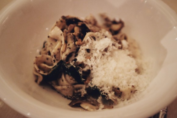 quinoa tagliatelle with beet greens, maitake mushrooms and sunflower kernels