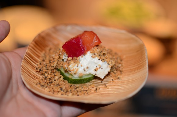 "good restaurant's beet-cured salmon, kirby cucumber, goat cream cheese and ""everything"" crumble"