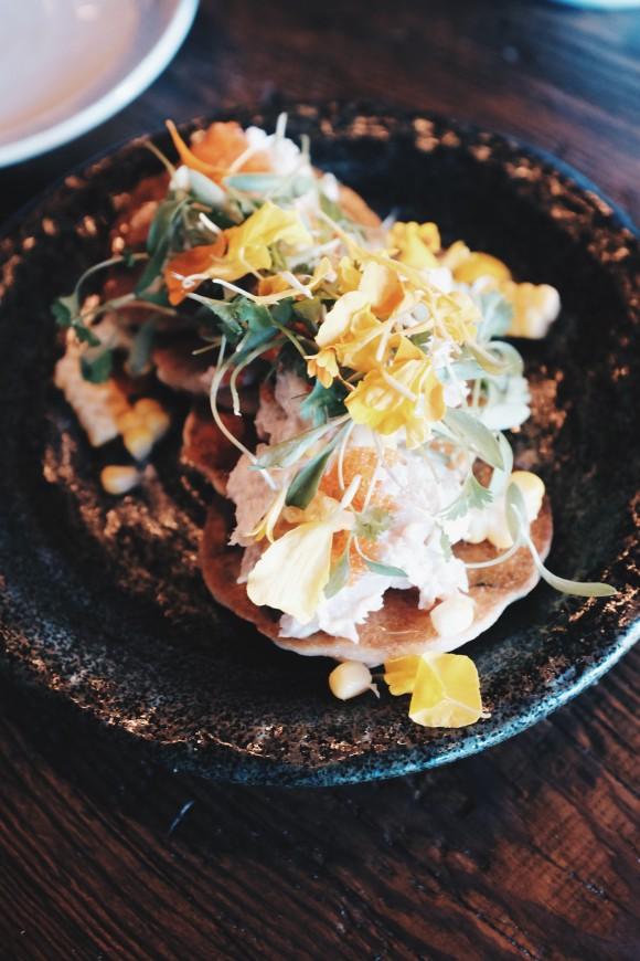 """okonomiyaki"" - scallion pancakes with smoked trout, tobiko, shaved bonito and syrup"