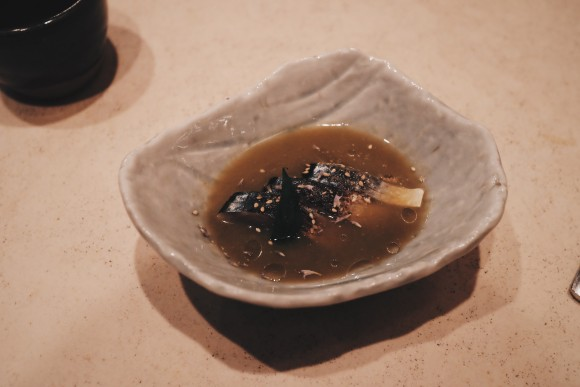 course 4 - boston mackerel sashimi lightly torched in a muscat grape broth