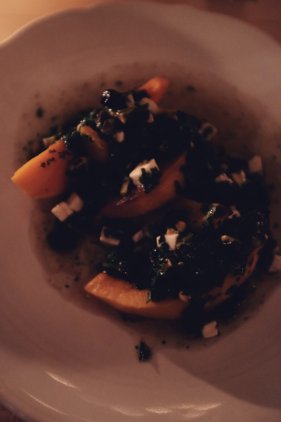 roasted red kabocha squash with feta, pistachios, chili pickled currants and lime juice