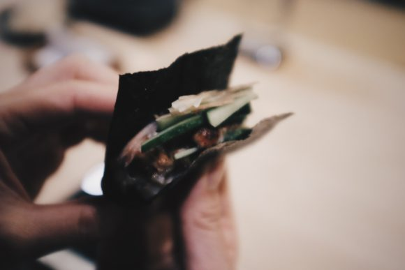 grilled unagi hand roll