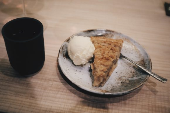 homemade apple pie with burnt bay leaf ice cream