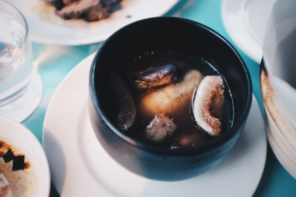 sea eel in a light broth with eggplant and figs (special)
