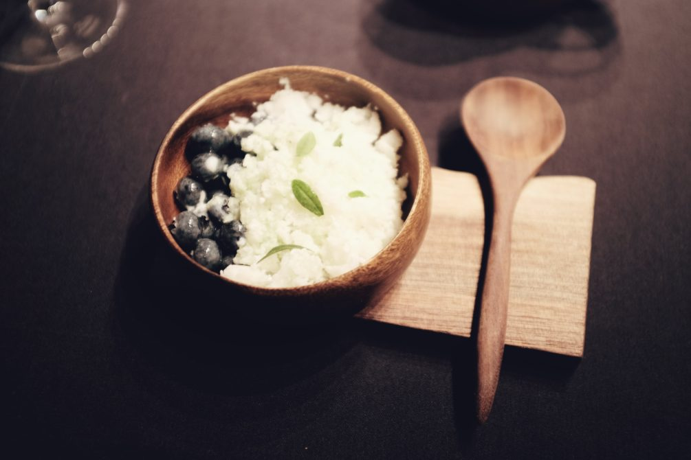 buttermilk granita and blueberry marinated in spruce and birch oil