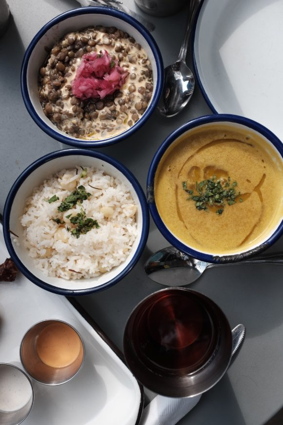 side of squash soup, lentils and arroz con choclo