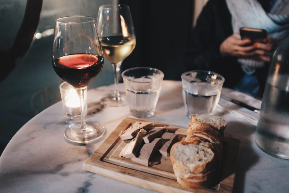 wine and pate