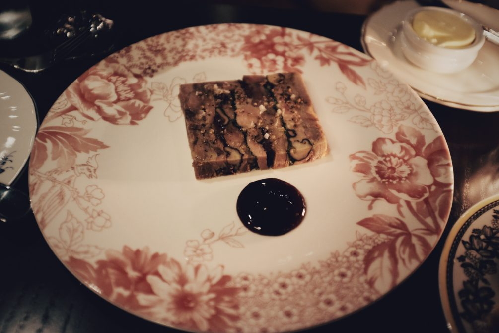 fois gras terrine with ham hock, savoy cabbage and apple cider gastrique