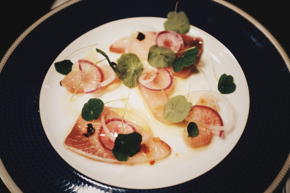 hamachi crudo with chipotle and bordeaux radish