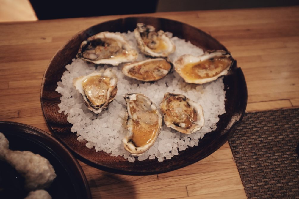 wood fired virginia salts oysters and chili miso butter
